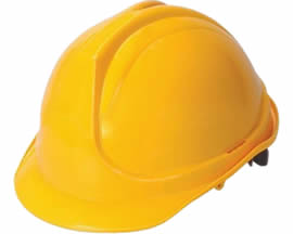 A yellow PC safety helmet PCSH-5