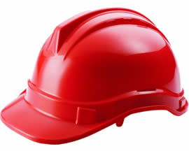 A red PC safety helmet PCSH-6